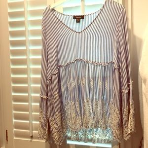 Bundle 3 Striped Preppy Ruffle tops XL